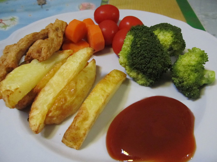 strips chips veg