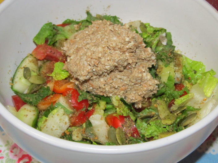 zaatar salad with sunflower seed pate