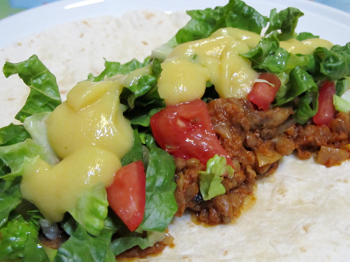 taco meat cauliflower cheeze sauce