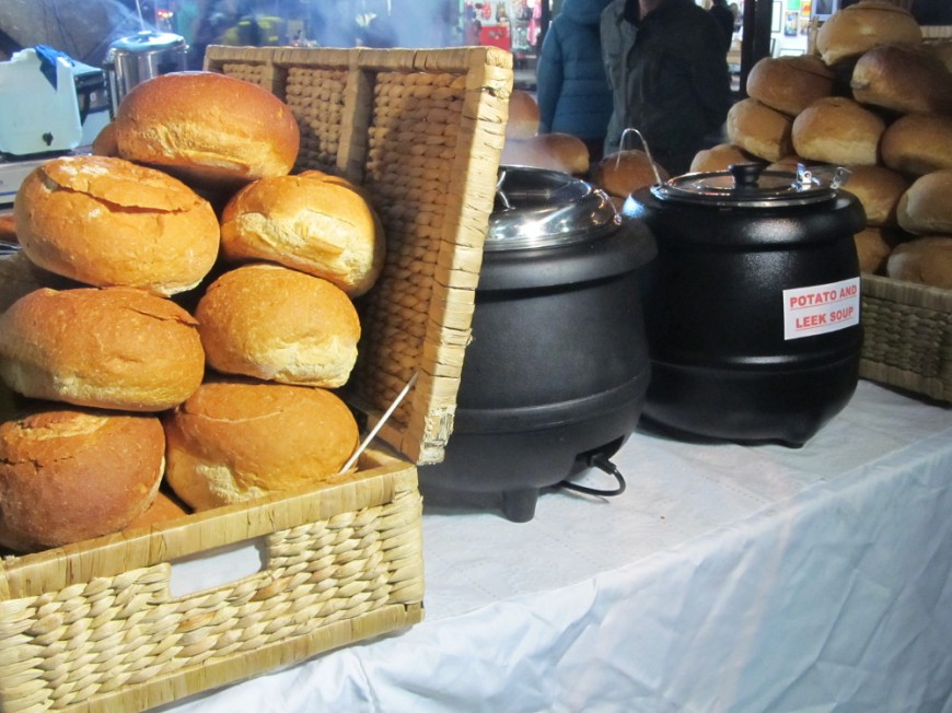 Soup in bread bowl stall