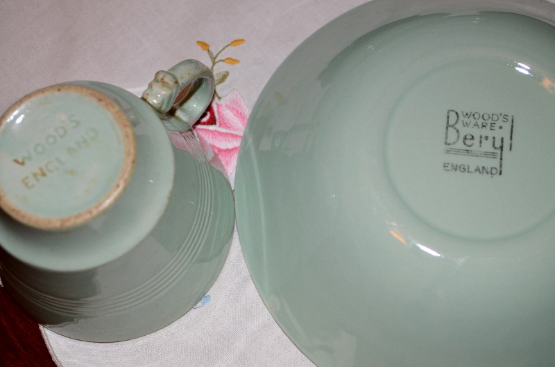 Wood's Ware Beryl mint green dinner set